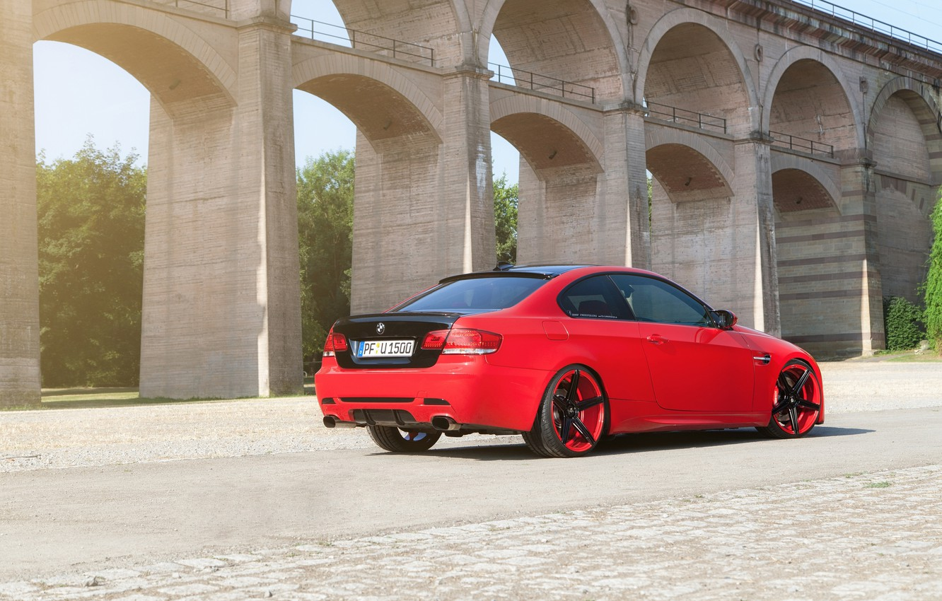 Photo wallpaper Red, BMW, Tuning, BMW, Red, Drives, Coupe, E92, Tuning