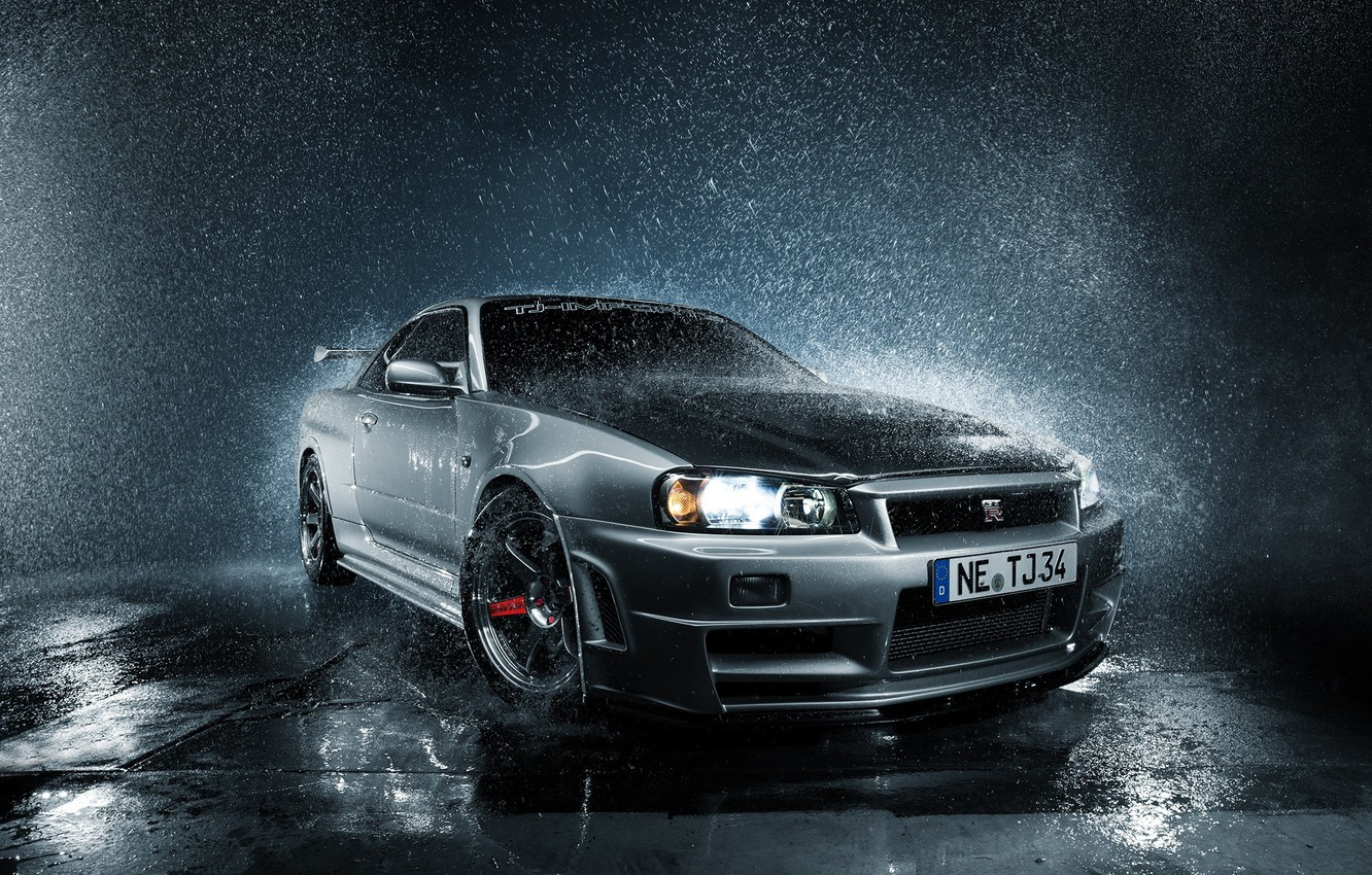 Photo wallpaper GTR, Nissan, Skyline, front, R34, silvery, droplets of water, PEOPLE