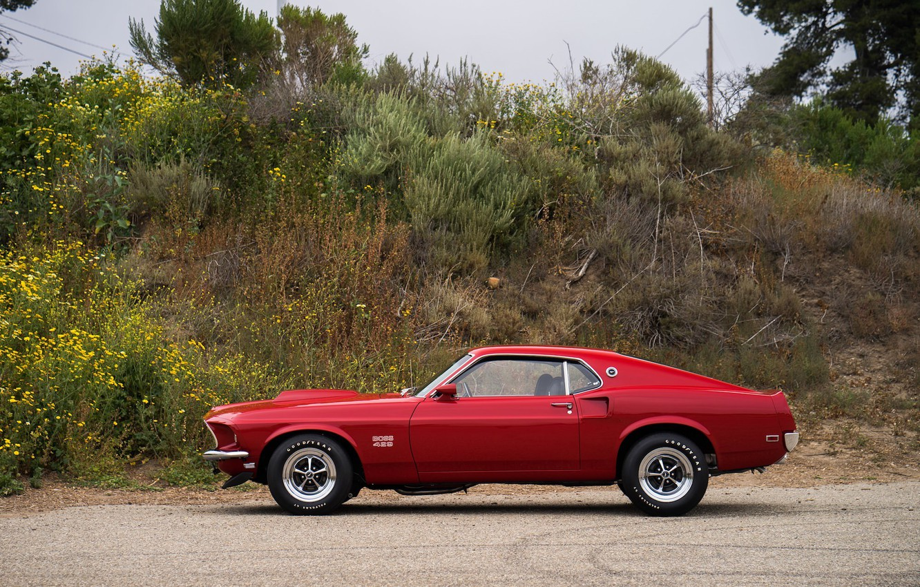 Photo wallpaper Mustang, Ford, Muscle, 1969, Red, Car, Classic, Musclecar, Boss, American, 429, NasCar
