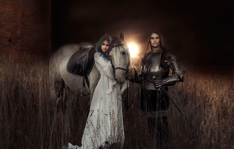 Photo wallpaper girl, art, knight