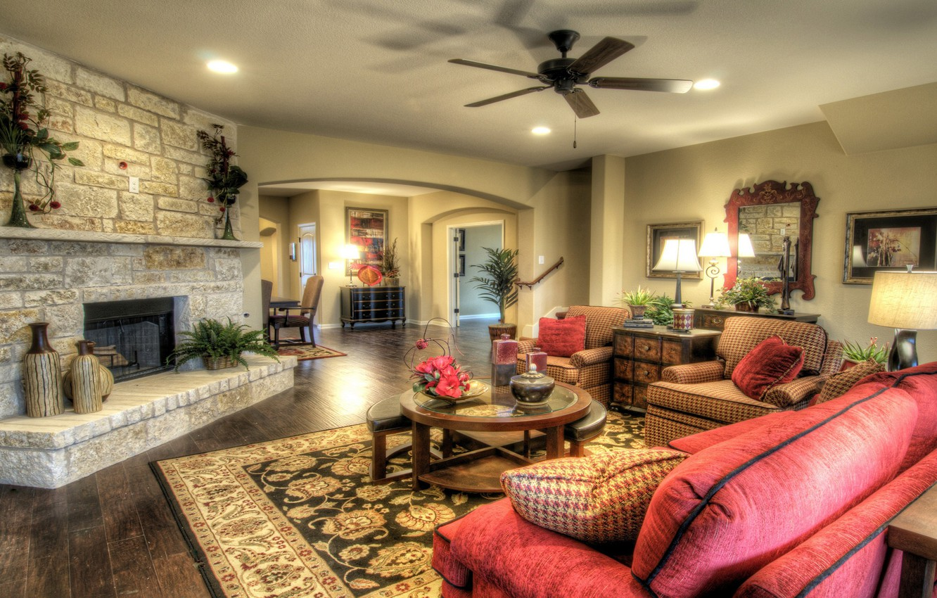 Photo wallpaper sofa, interior, chair, fireplace, table, living room