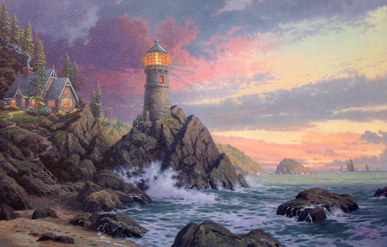 Photo wallpaper wave, rock, house, the ocean, lighthouse, the evening, waves, rock, house, painting, ocean, sunset, art, ...