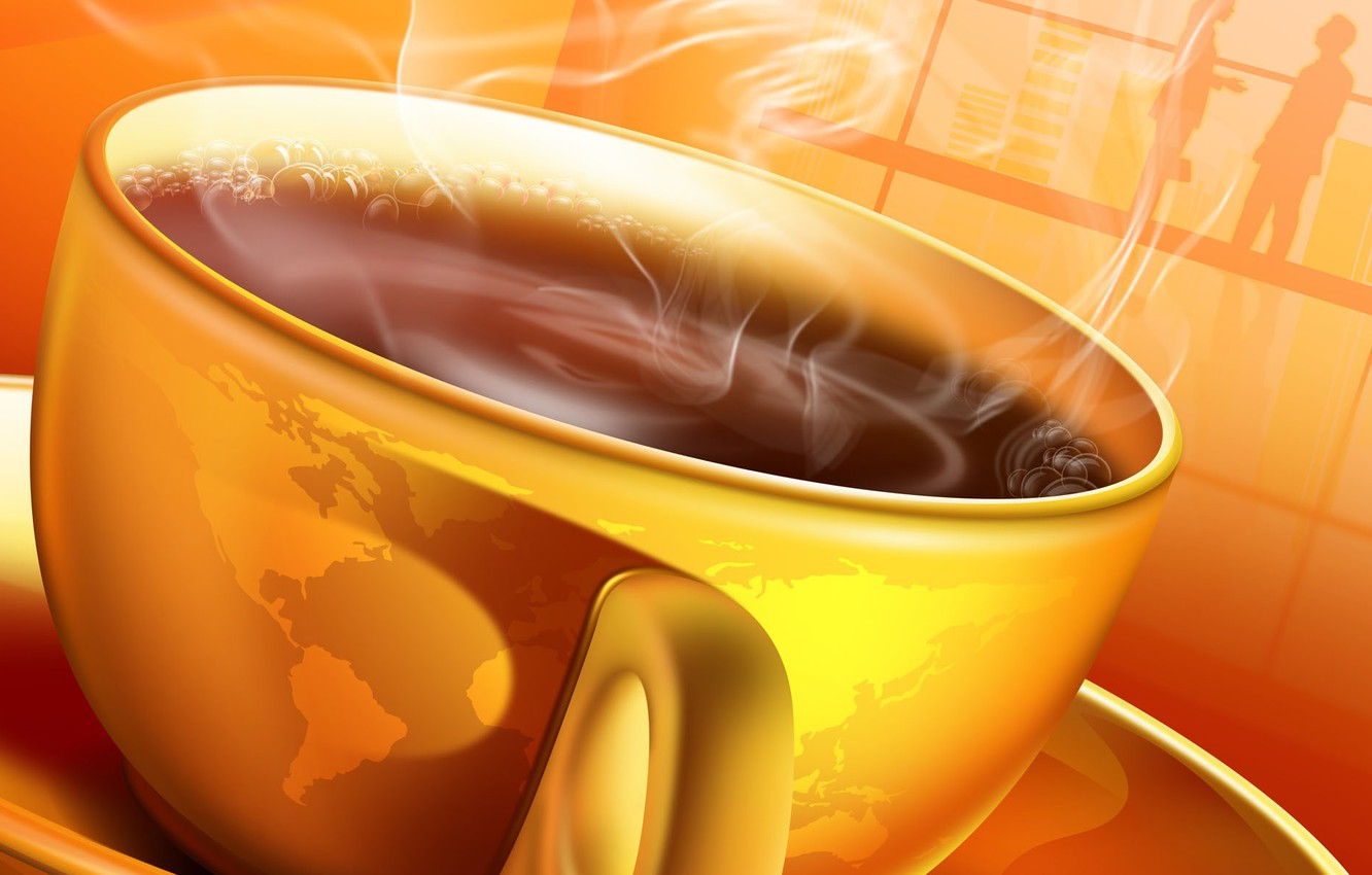 Photo wallpaper coffee, hot, morning, Cup