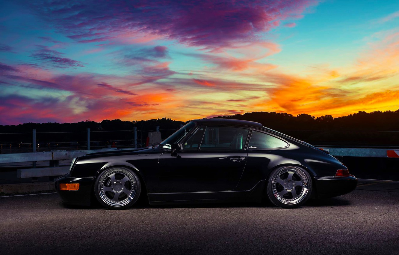 Photo wallpaper 911, Porsche, Classic, Black, Sunset, Carrera, Side