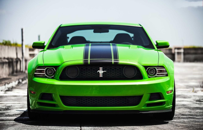 Photo wallpaper green, mustang, Mustang, green, before, ford, Ford, boss, boss 302, black stripes