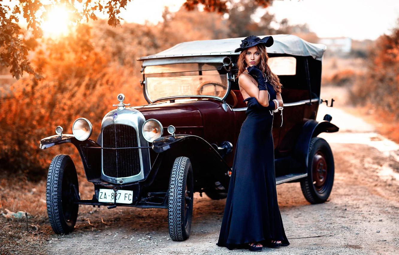 Photo wallpaper auto, girl, retro, rarity, vintage, Alessandro Di Cicco, Old Torpedo