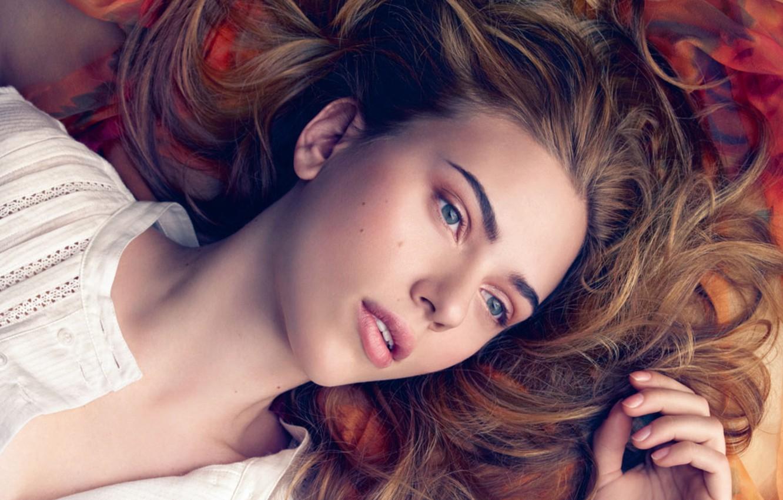 Photo wallpaper girl, hair, actress, Scarlett Johansson, Scarlett johansson, blouse, in white