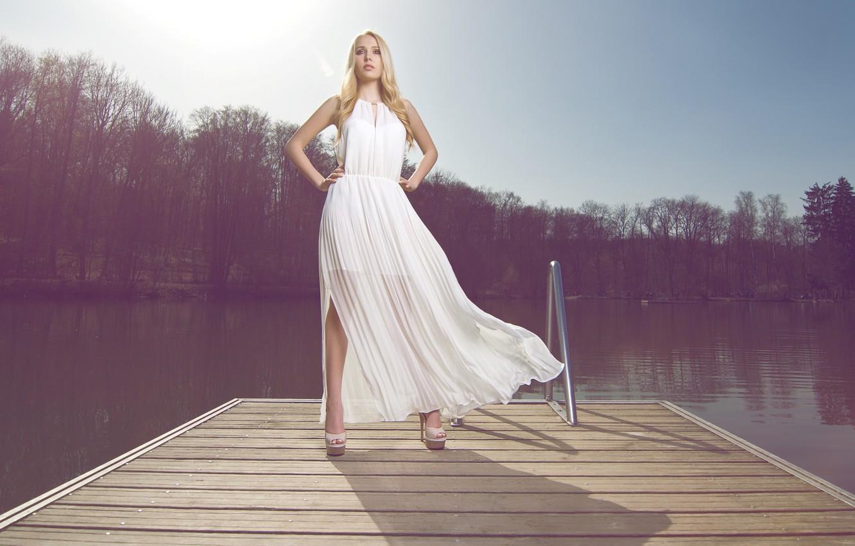 Photo wallpaper pose, dress, blonde