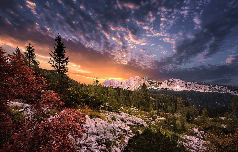 Photo wallpaper sunset, mountains, nature