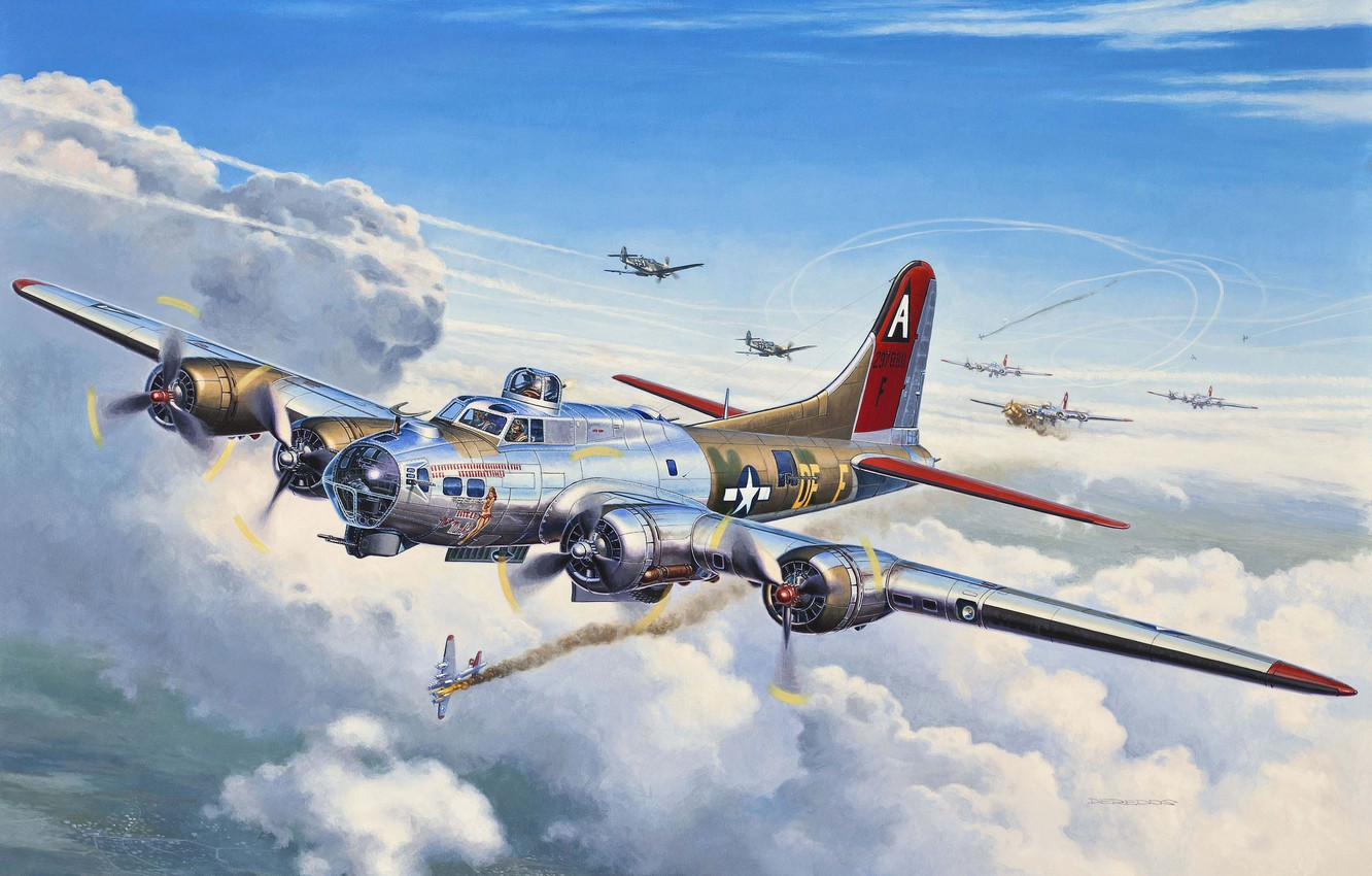 Photo wallpaper the plane, battle, art, USA, fortress, bomber, American, Boeing, BBC, heavy, the crew, link, B-17, …