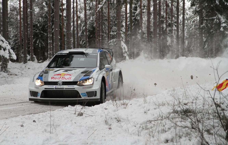 Photo wallpaper Snow, Forest, Volkswagen, Turn, Skid, WRC, Rally, Polo, S. Ogier, J. Ingrassia