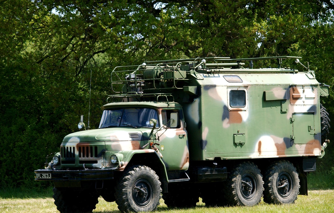 Photo wallpaper camouflage, car, coloring, cargo, Soviet, terrain, the military option, ZIL-131 with a box