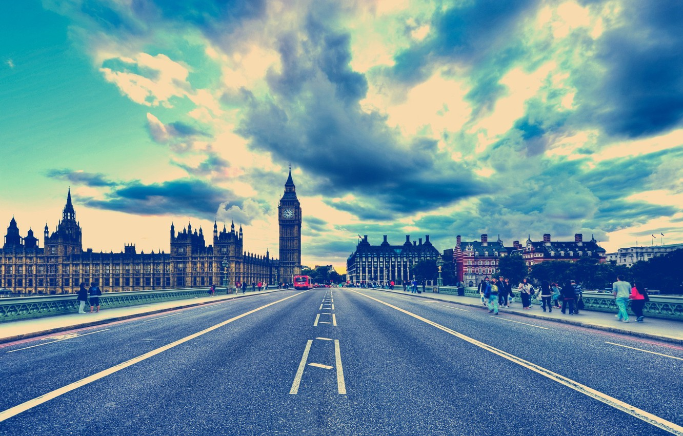 Photo wallpaper road, the sky, clouds, landscape, nature, the city, background, people, Wallpaper, people, London, Big Ben