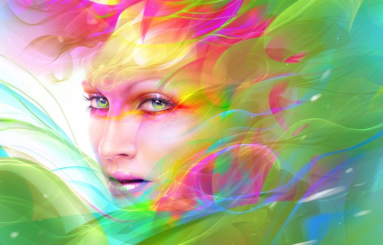 Photo wallpaper look, girl, abstraction, face, paint, makeup, art, neville dsouza