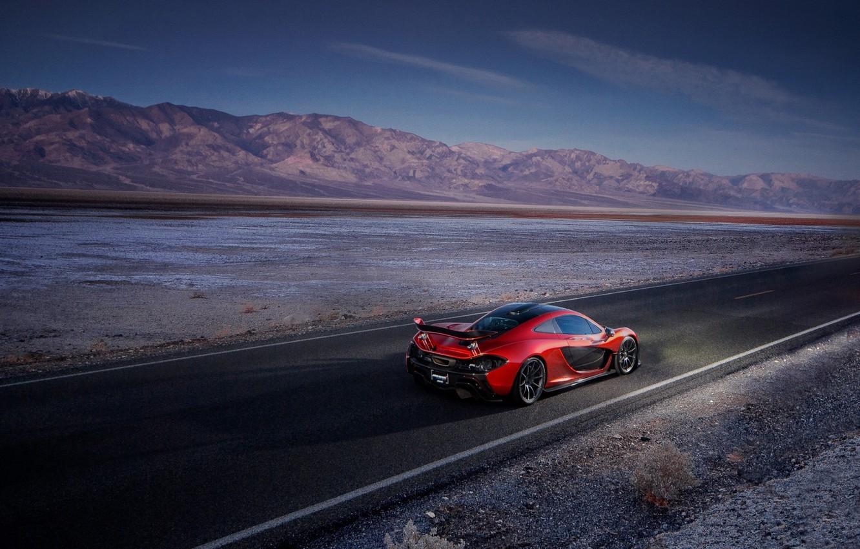 Photo wallpaper McLaren, Orange, Death, Sand, Supercar, Valley, Hypercar, Exotic, Rear, Volcano