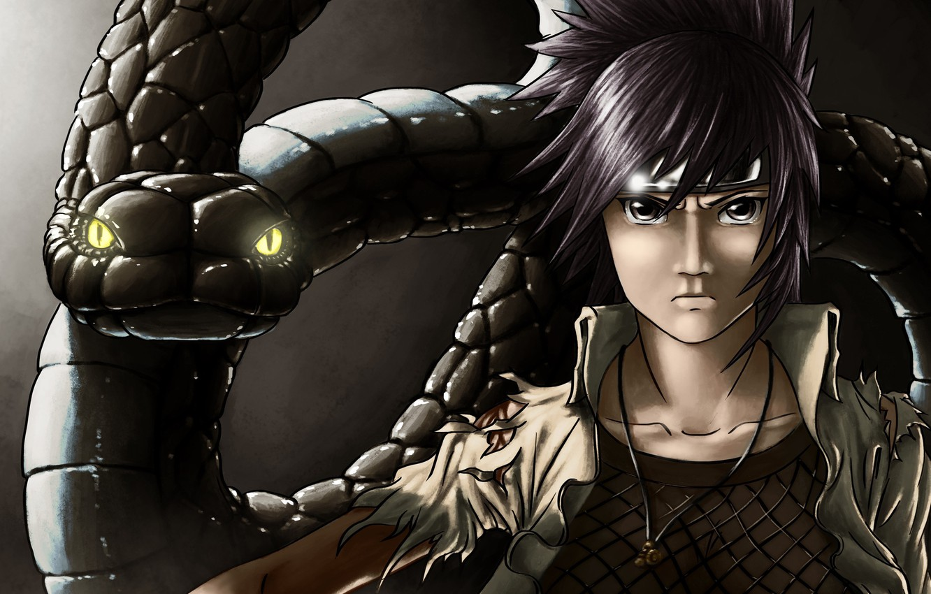 Photo wallpaper girl, snake, art, pendant, Naruto, bandana, Anko Mitarashi