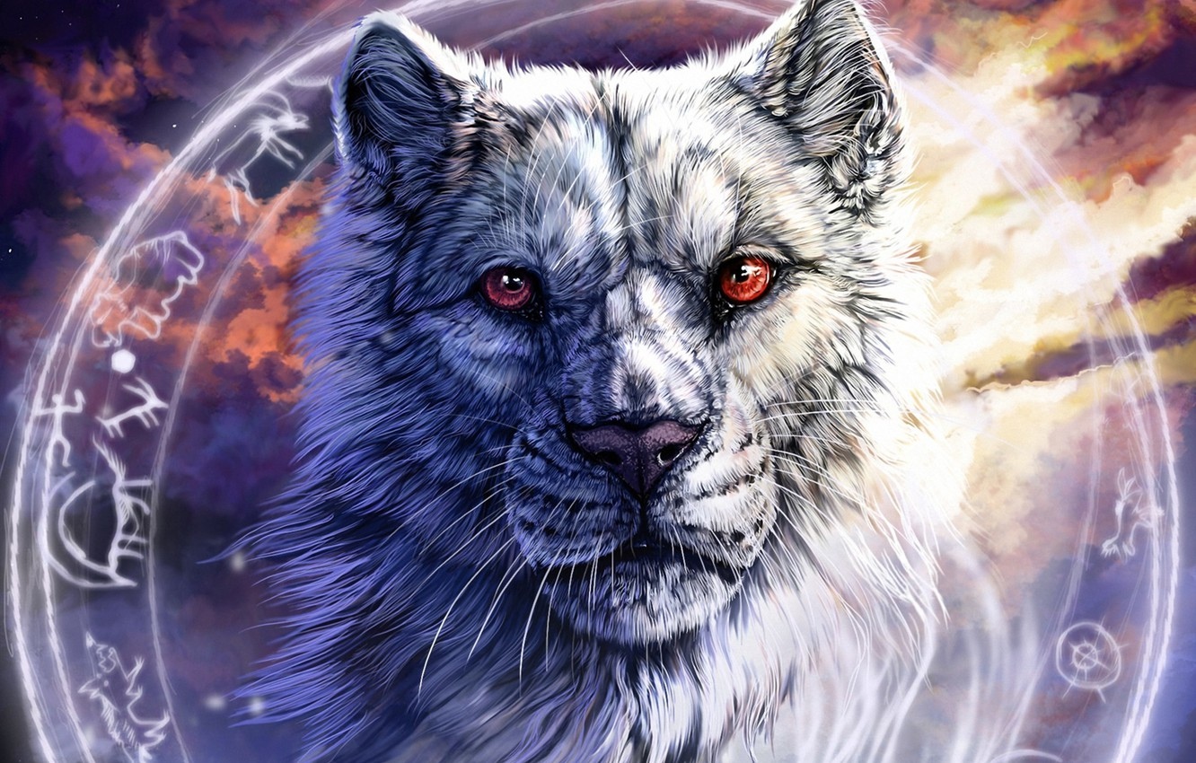 Photo wallpaper face, wolf, round, characters, art, red eyes