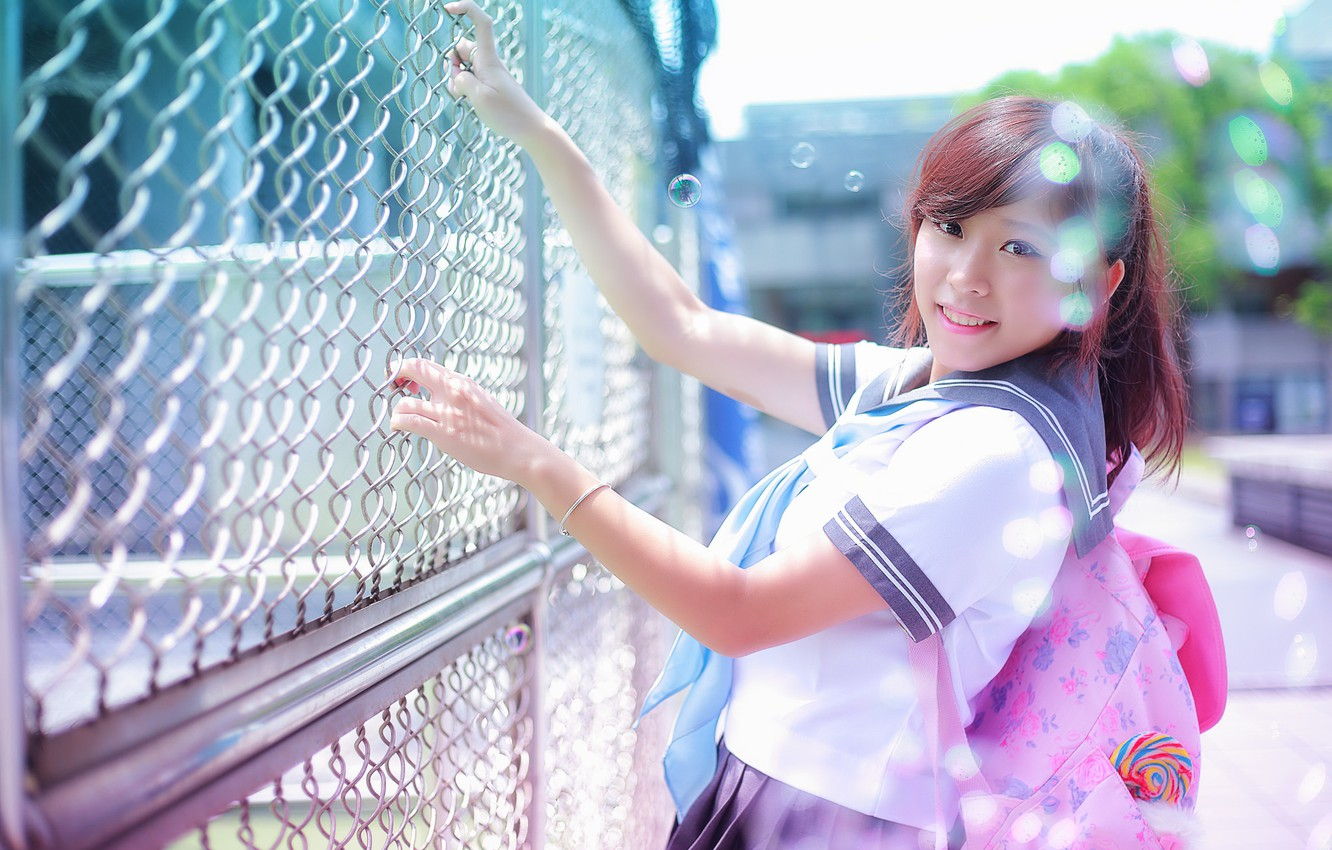 Photo wallpaper summer, look, girl, face, smile, hair, the fence, Asian