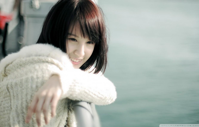 Photo wallpaper smile, in white, sweater, Asian girl, asian women