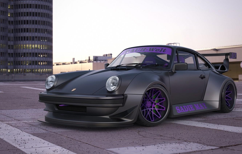 Photo wallpaper car, machine, auto, street, building, 911, Porsche, black, Porsche, black, Turbo, avto, Turbo