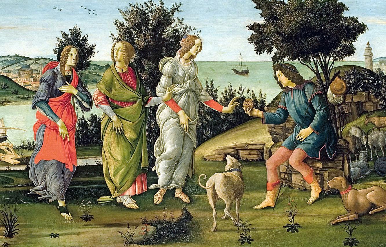 Photo wallpaper picture, mythology, Sandro Botticelli, The Judgment Of Paris