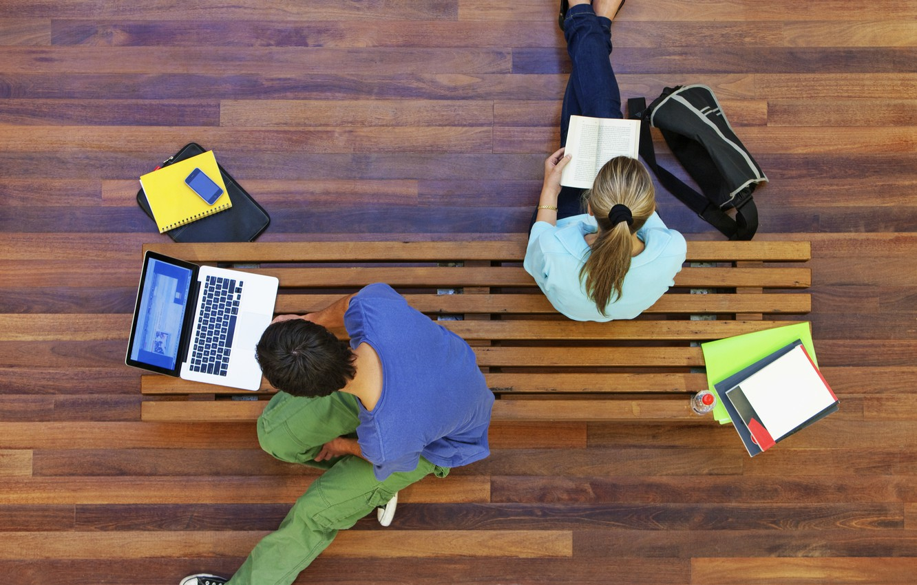 Photo wallpaper wood, notebook, books, technology, students, knowledge