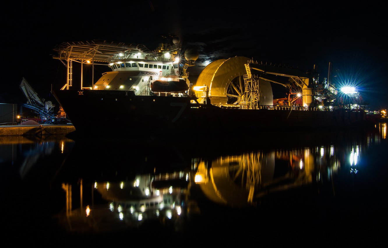 Photo wallpaper night, ship, Marina, subsea 7