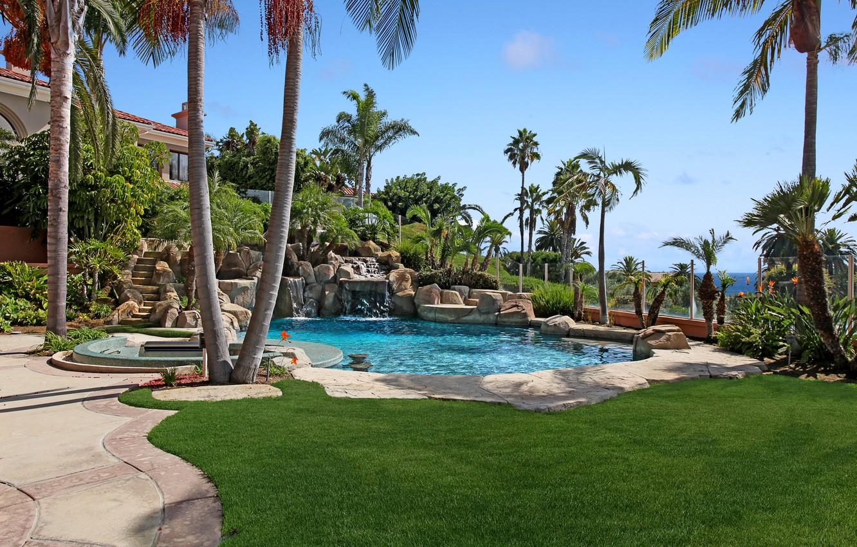 Wallpaper Nature Pool Palm Trees Park Lawn Images For Desktop Section Interer Download