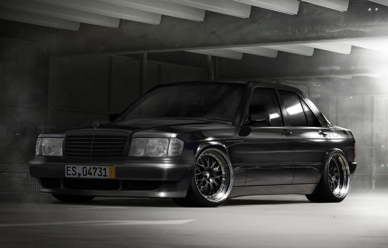 Photo wallpaper black, black, Mercedes, benz, merc, stance, mb