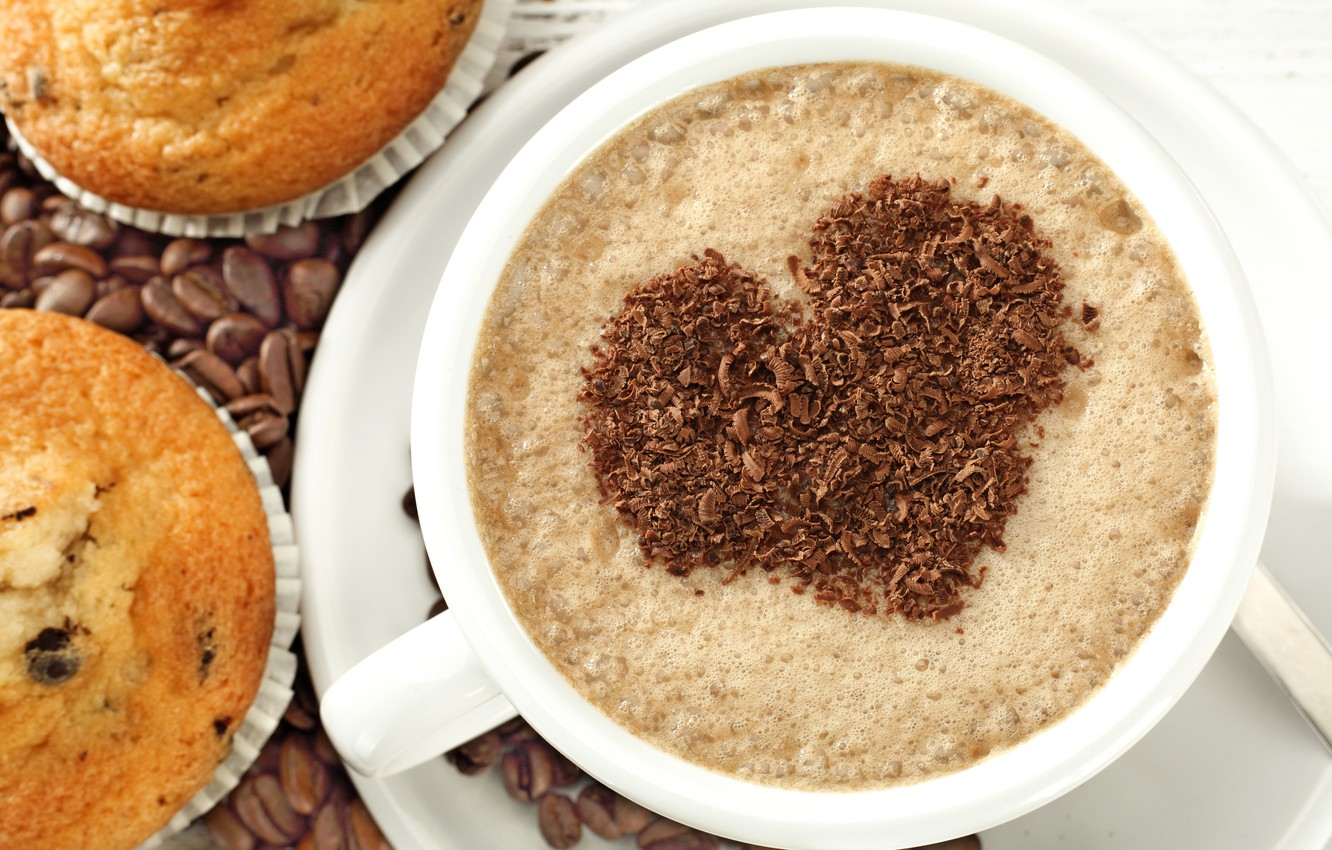 Photo wallpaper love, heart, coffee, love, heart, cup, cupcake, cupcakes, beans, coffee