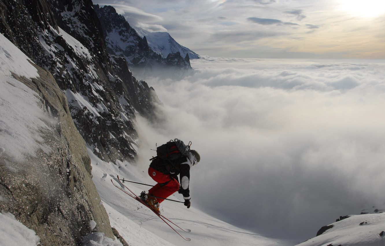 Photo wallpaper the sky, clouds, snow, Wallpaper, the descent, sport, ski, mountain, wallpaper, skier