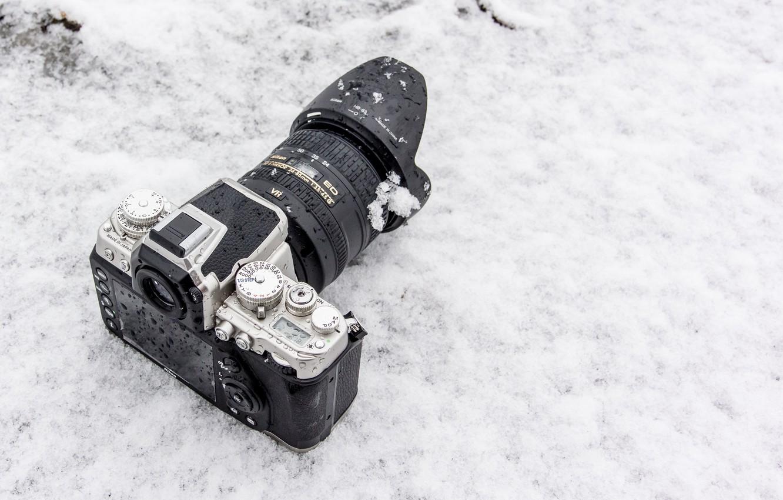 Photo wallpaper winter, snow, background, the camera, lens, Nikon 1 AW1