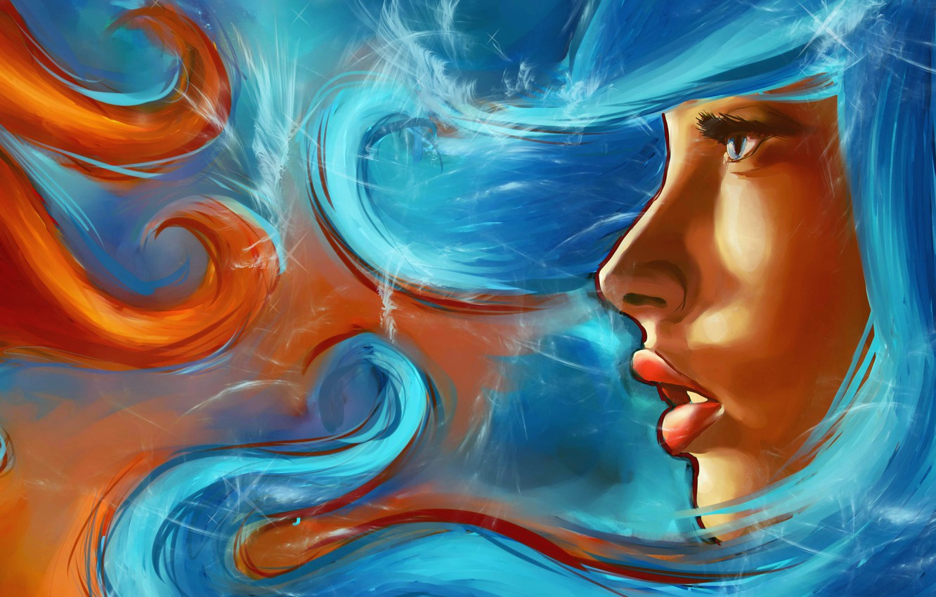 Photo wallpaper look, water, girl, face, fire, elements, art, lips, profile, painting