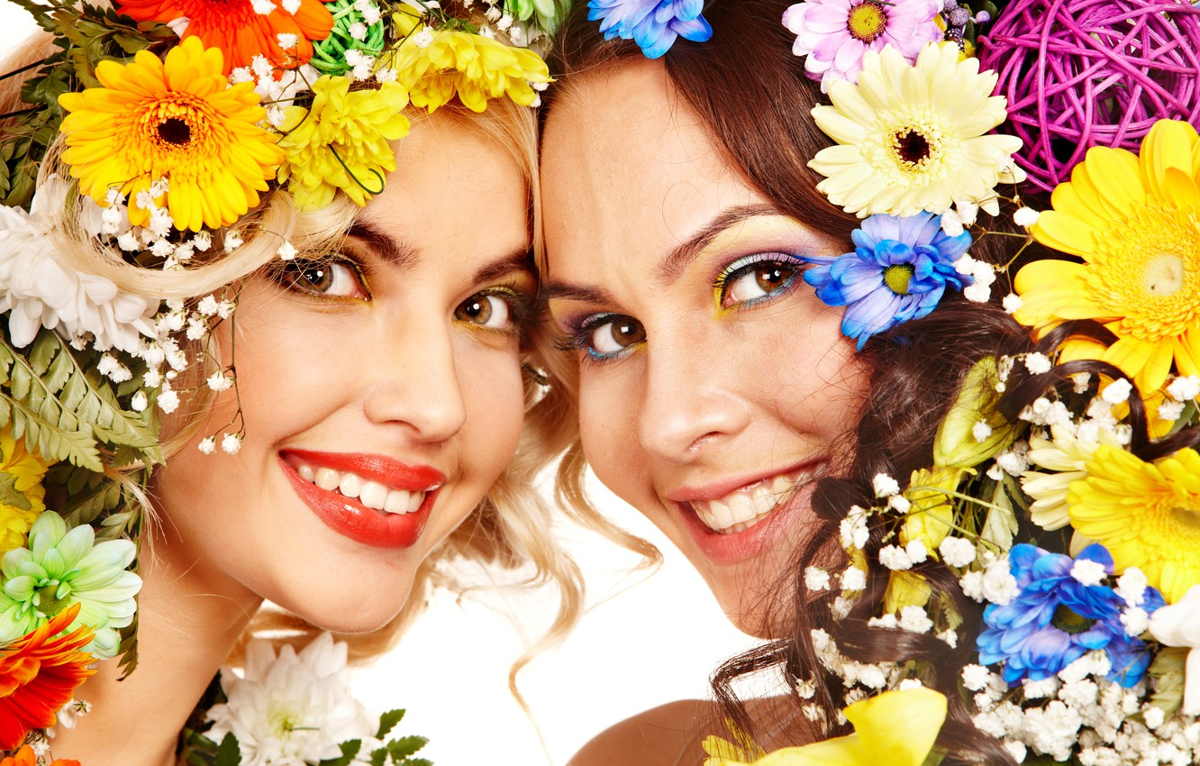 Photo wallpaper flowers, girls, Two, smile
