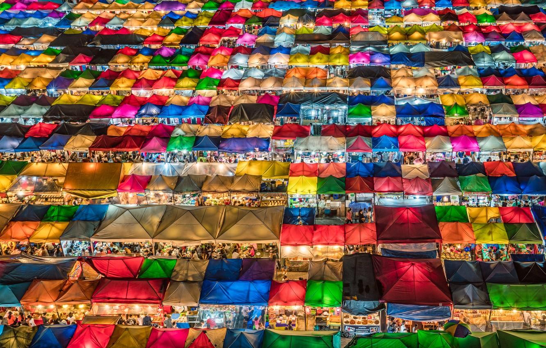 Photo wallpaper Night, Market, Bangkok