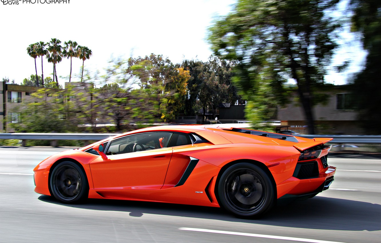 Photo wallpaper Lamborghini, Orange, Aventador, sport car