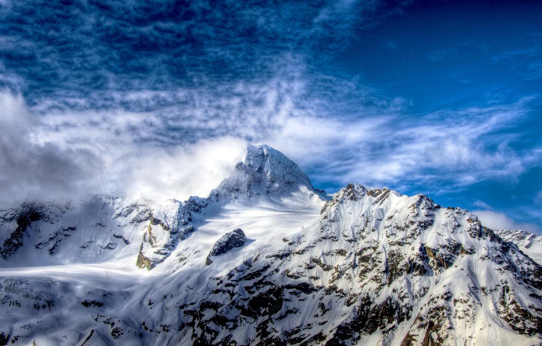Photo wallpaper white, the sky, clouds, snow, mountains, rocks, hdr, top, Russia, blue, Sofia, the Caucasus, ridge, …