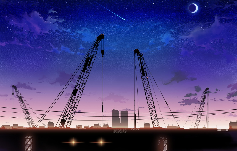 Photo wallpaper the sky, stars, clouds, landscape, sunset, the moon, crane, anime, art, inz