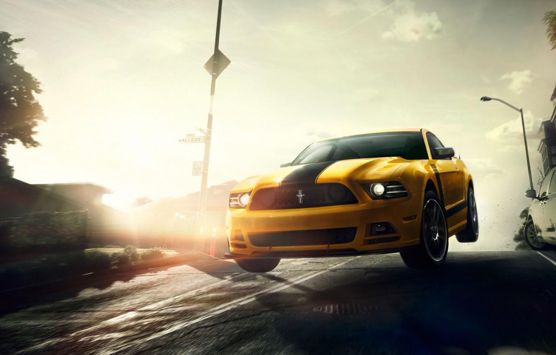 Photo wallpaper Mustang, Ford, Muscle, Car, Speed, Front, Sun, Street, San Francisco, Yellow, 302, Boss, Jump