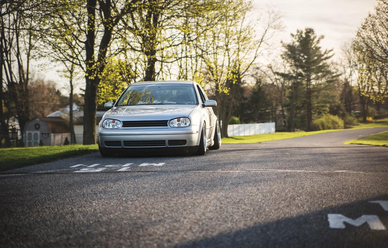 Photo wallpaper road, grey, volkswagen, Golf, golf, Volkswagen, MK4