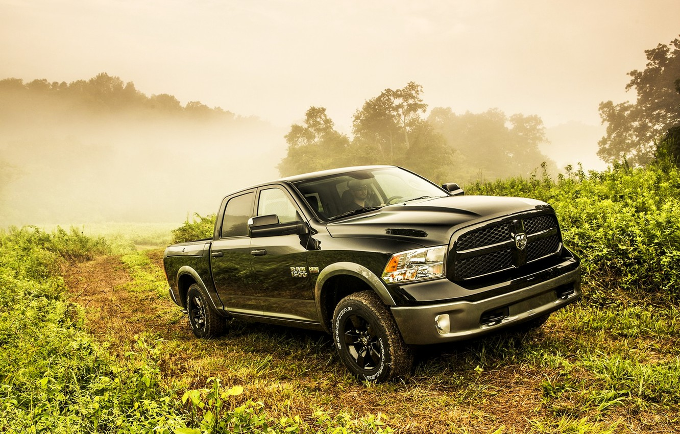 Photo wallpaper black, road, dodge, fog, way, saw, 4x4, truck, 1500, Ram, 2013, vegetation, hemi, HEMI, 5.7-liter