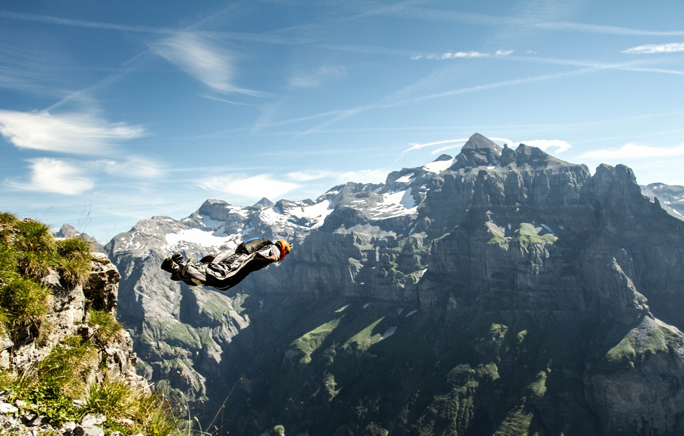 Photo wallpaper the sky, clouds, mountains, rocks, camera, parachute, container, helmet, pilot, extreme sports, wingsuit, base jumping, …