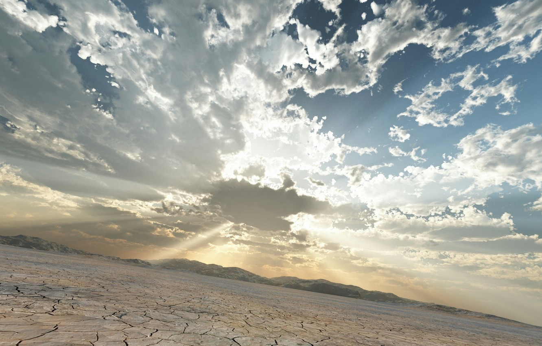 Photo wallpaper clouds, landscape, cracked, art, Heath, the sun's rays, trbrchdm