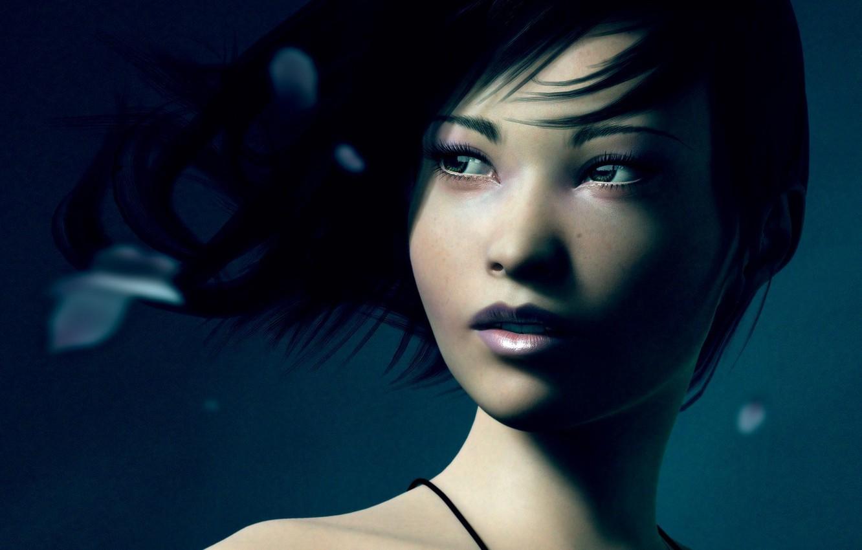Photo wallpaper eyes, girl, art, Asian, artwork