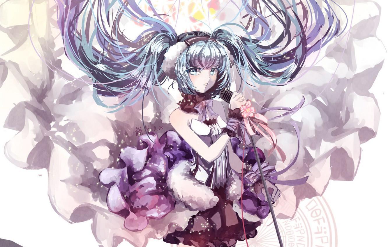 Photo wallpaper girl, flowers, anime, headphones, art, microphone, vocaloid, hatsune miku, 7th dragon, kkkkona