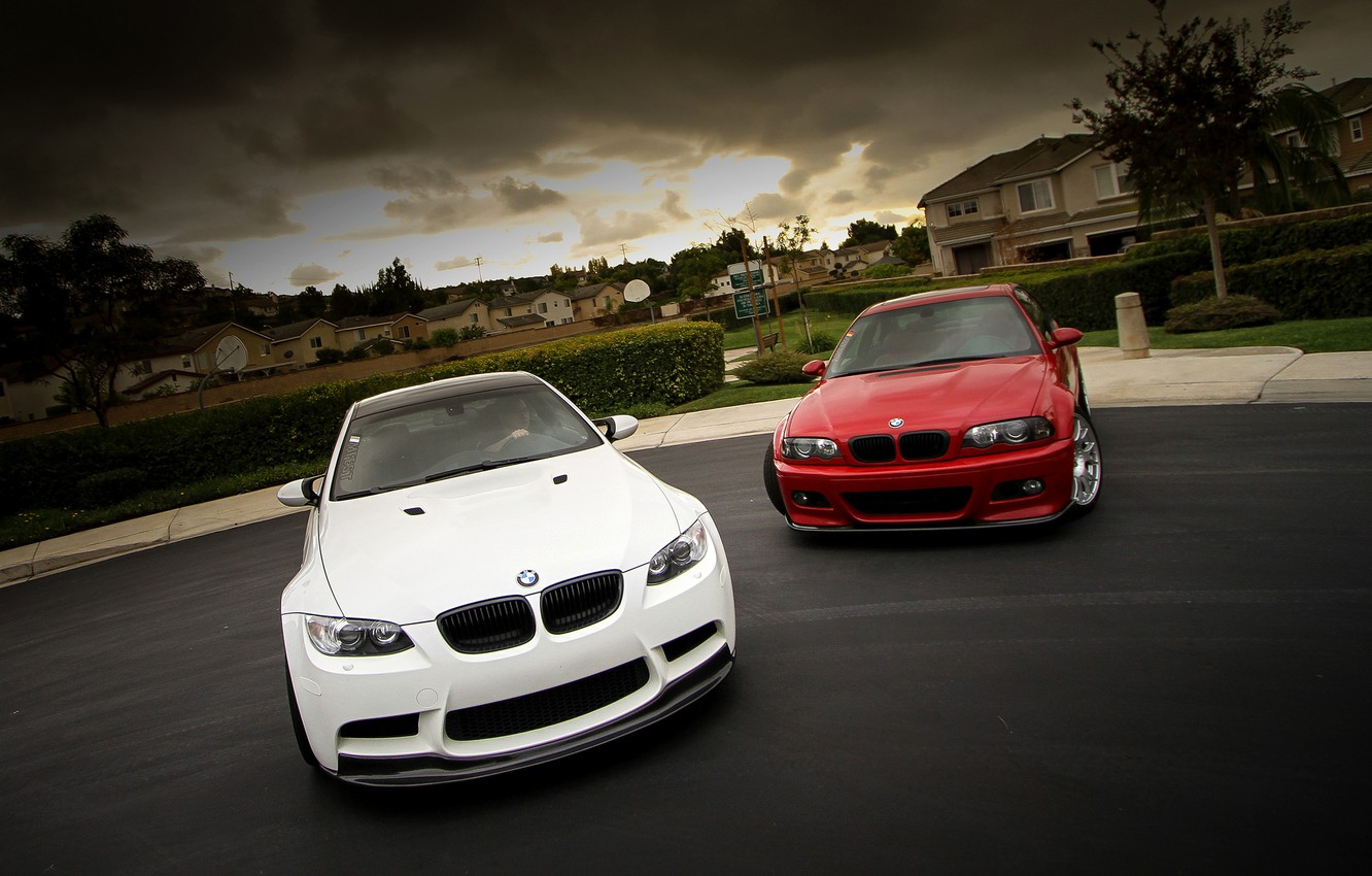 Photo wallpaper white, the sky, red, clouds, bmw, BMW, red, white, the front, e92, e46