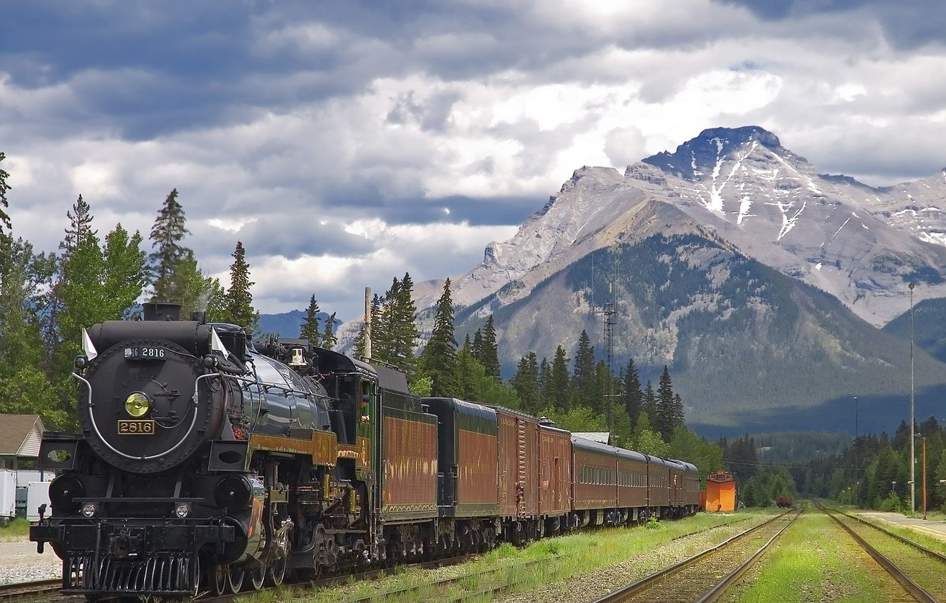 Photo wallpaper Mountain, The engine, Station