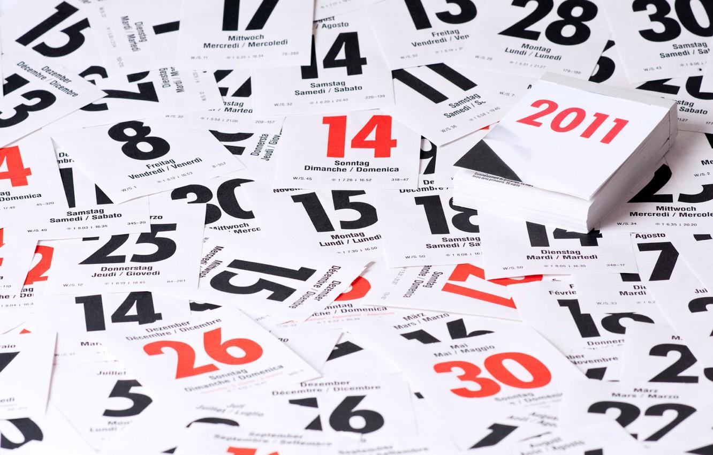 Photo wallpaper holiday, new year, sheets, calendar, 2011, days