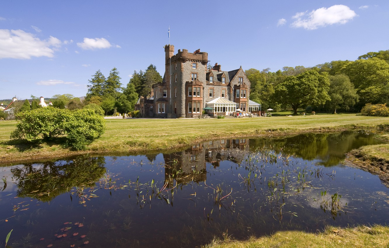 Photo wallpaper summer, river, castle, Scotland
