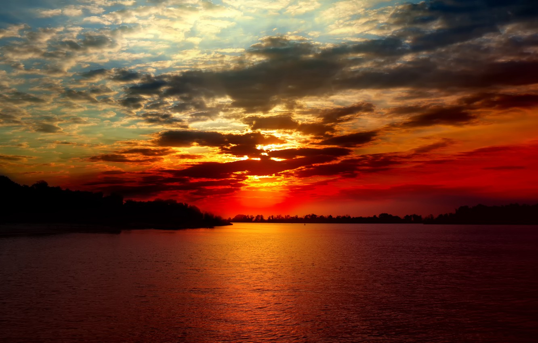 Photo wallpaper sea, the sky, clouds, landscape, sunset, river, river, sky, sea, landscape, sunset, clouds, beautiful nature, …